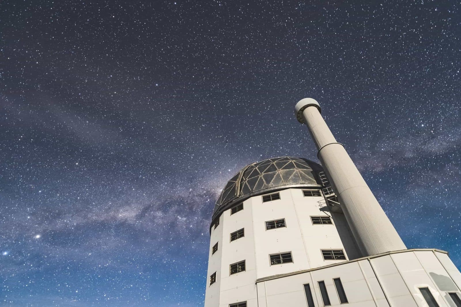 Southern Africa Large Telescope under a starry sky with a visible Milky Way