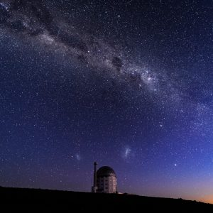 Southern African Large Telescope under a starry sky with a visible Milky Way