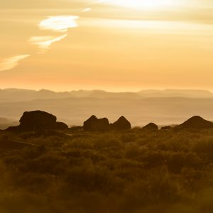 A dramatic scene of South Africa at dusk with mountains in the background, deep yellow hues, rocks and low brush in the foreground.