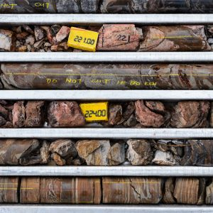 Rows of rock samples aligned in a metal tray.