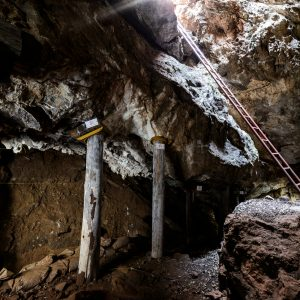 Support wooden beams within a cave, a ladder ascending to the light